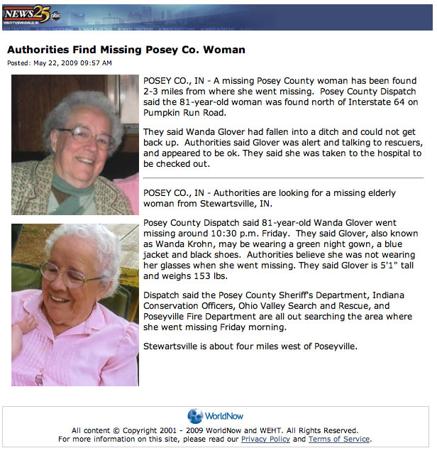 missing Posey Co. woman